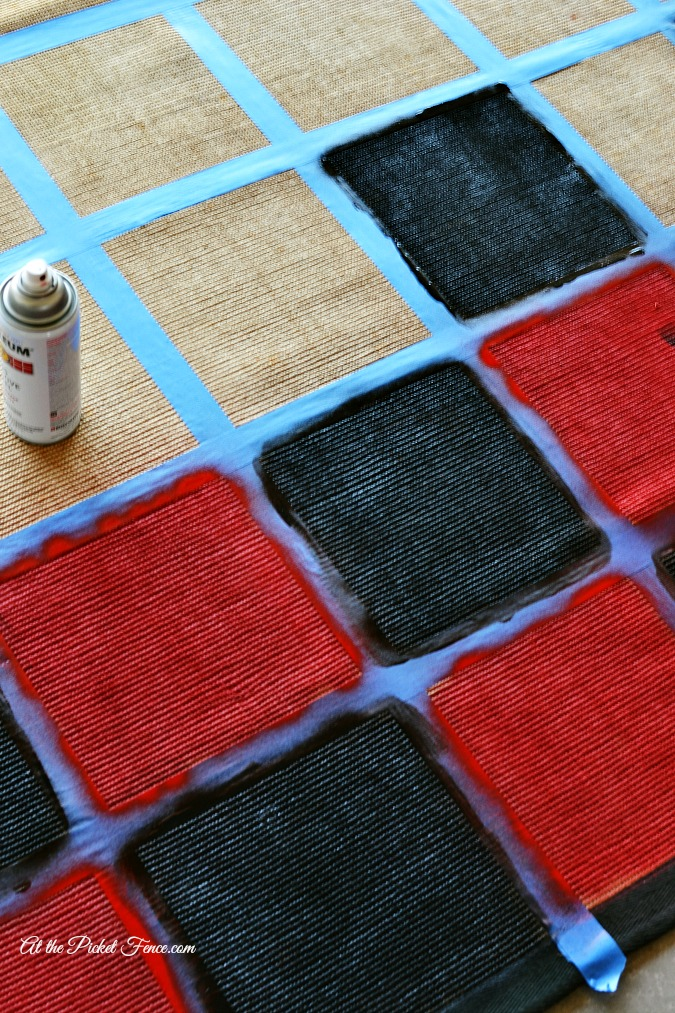 painting checker squares on rug