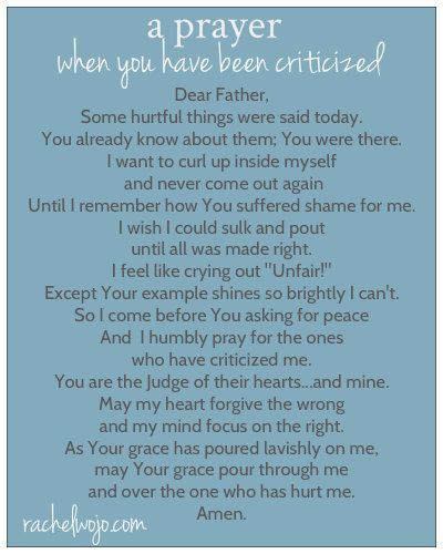 prayer for the criticized