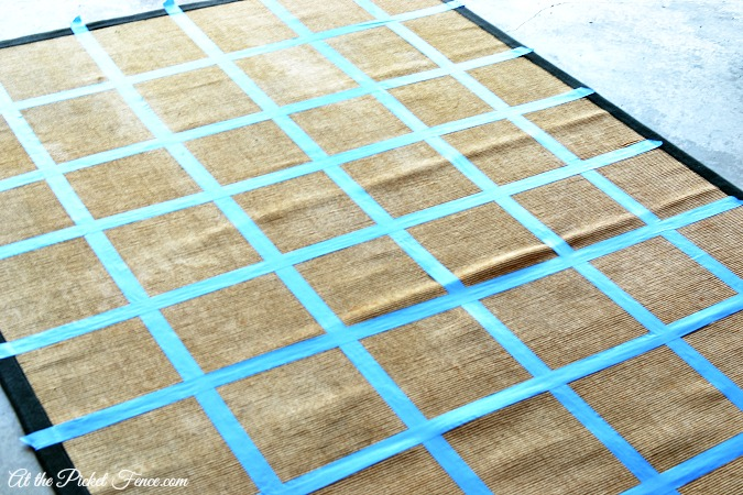taped lines for checker rug