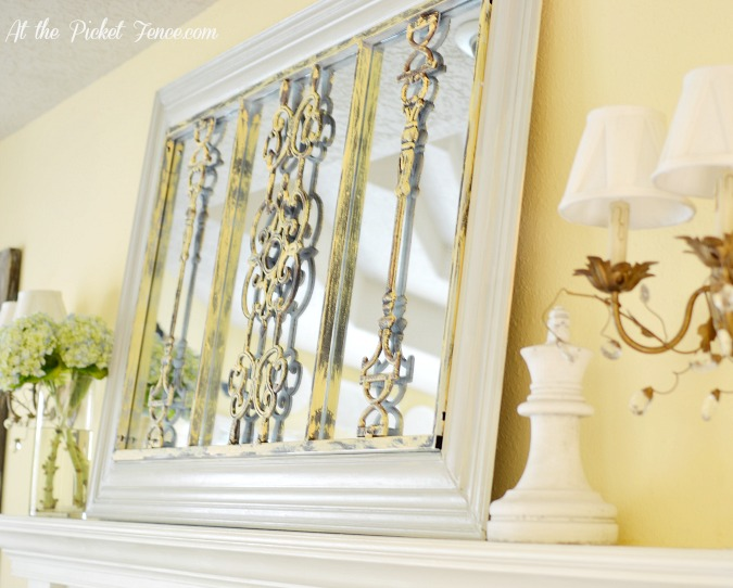 DIY iron grate mirror from atthepicketfence.com