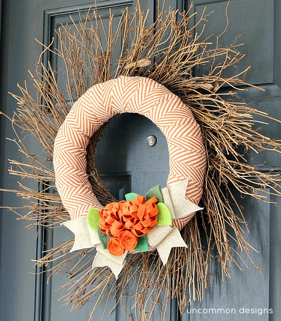 Fall wreath with fabric and felt flowers