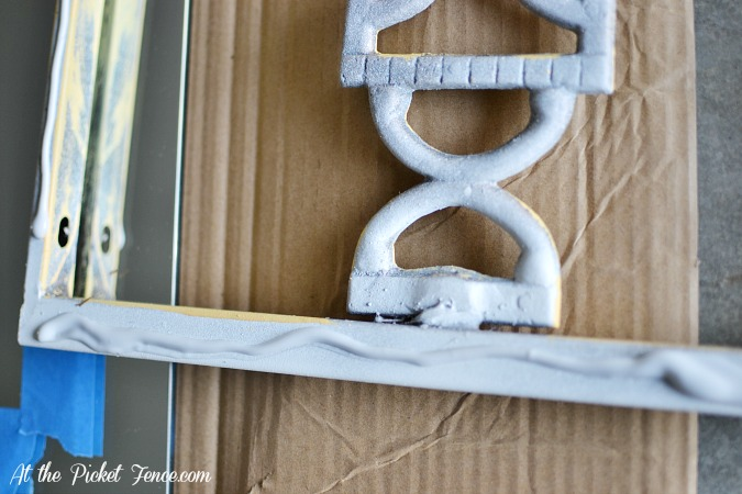 iron grate turned mirror elmers pro bond glue