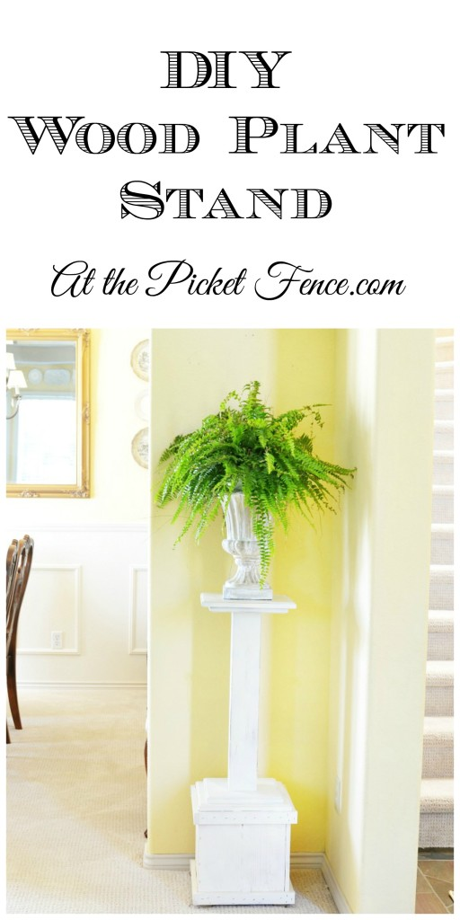 DIY wood planter box turned plant stand from At the Picket Fence.com