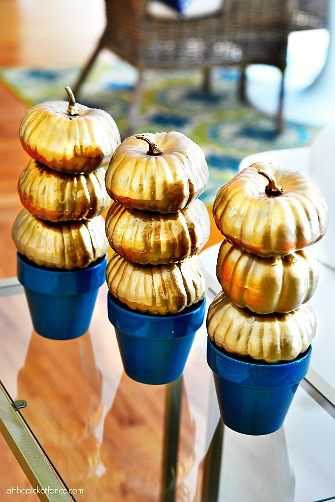 Miniature Gold Pumpkin Topiaries