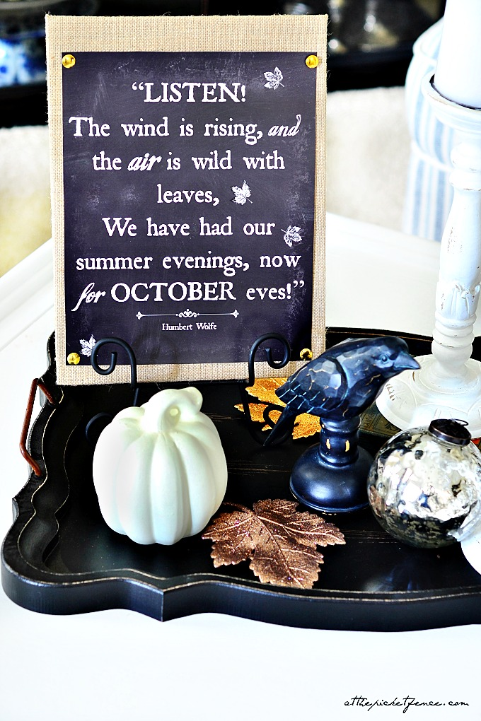 black and white fall vignette with free chalkboard printable