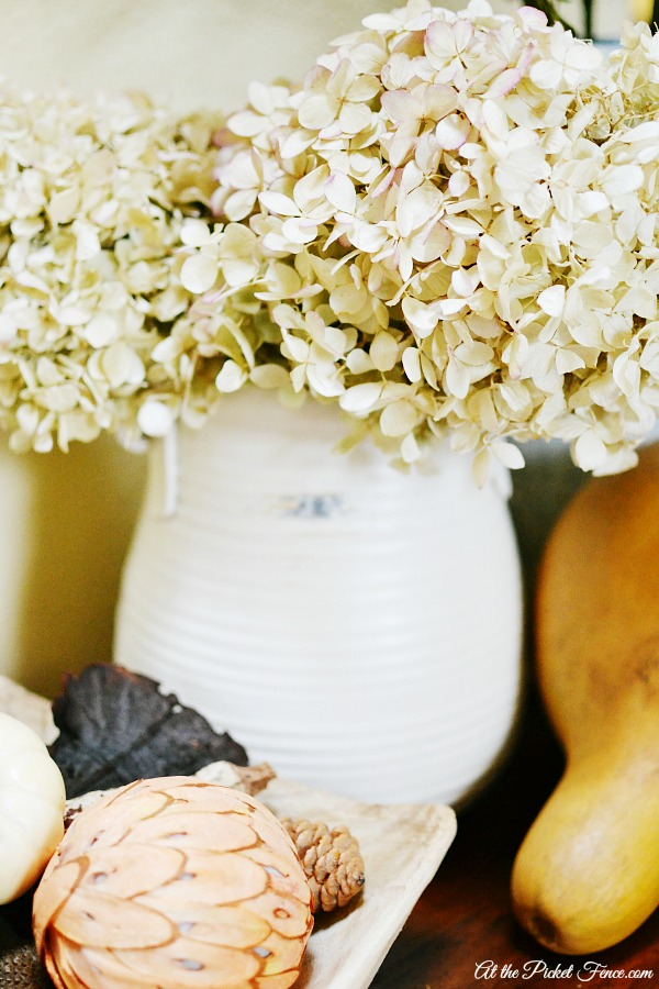 dried hydrangeas in urn atthepicketfence.com