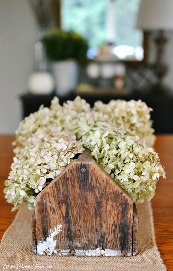 dried hydrangeas in vintage toolbox atthepicketfence.com