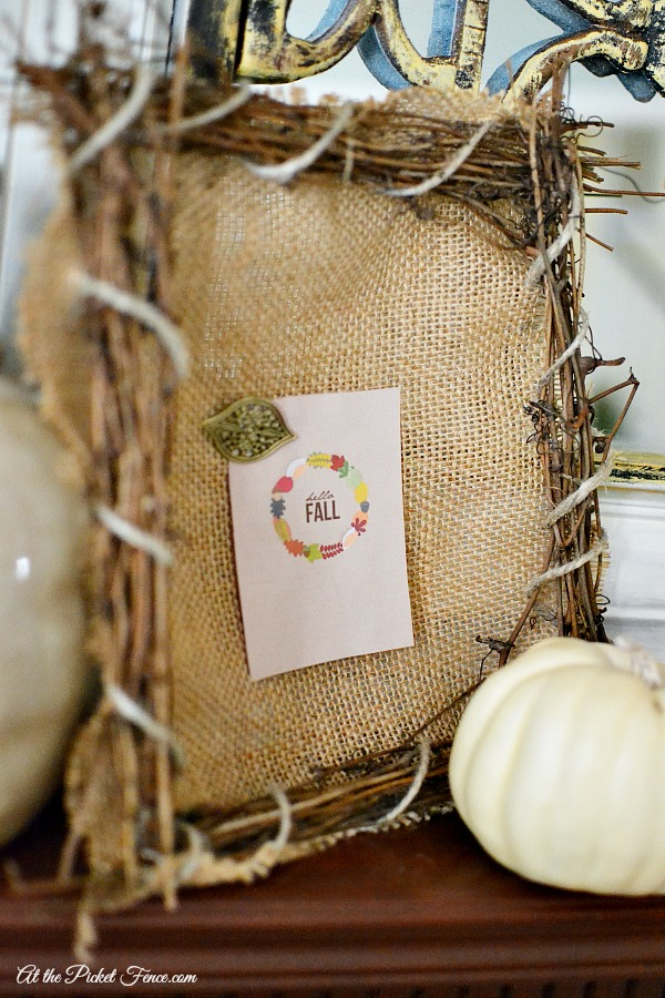 Burlap and branches frame for fall atthepicketfence.com
