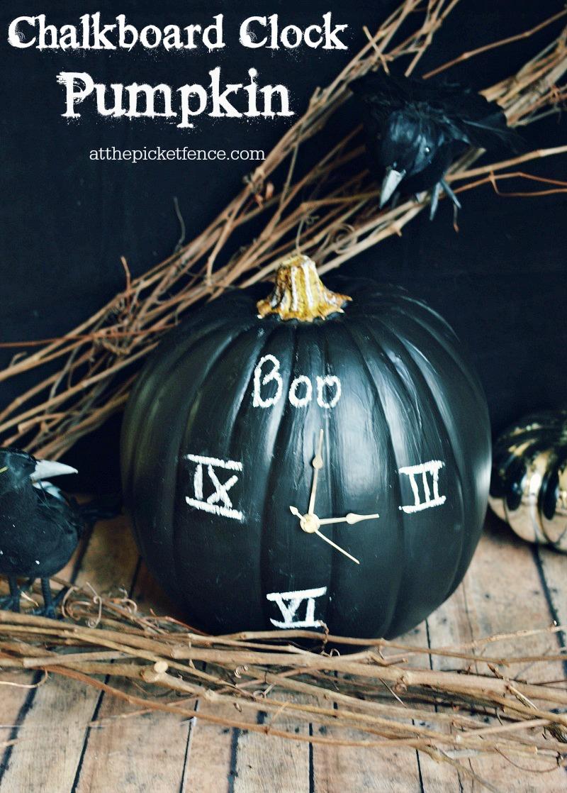 Chalkboard Clock Pumpkin