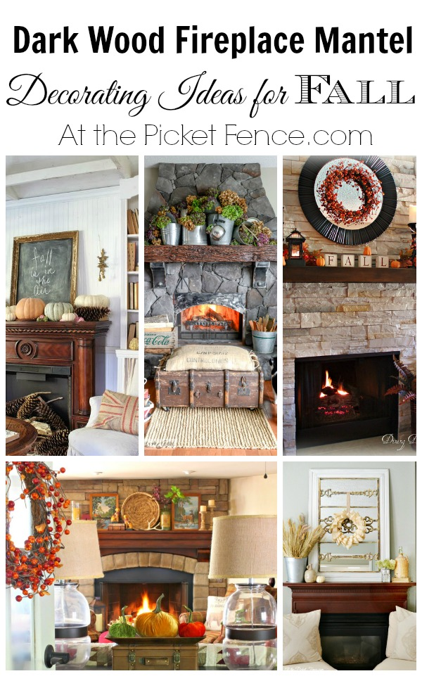 Dark wood fireplace mantel decorating ideas for fall from atthepicketfence.com