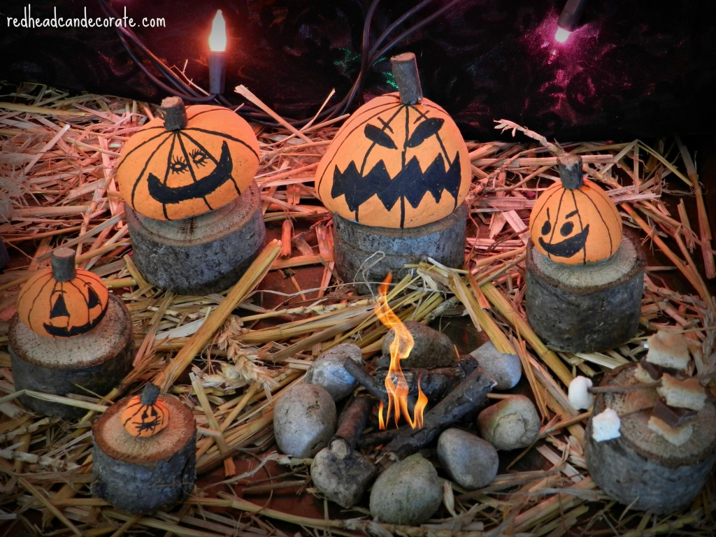 Mini Rock Pumpkin Family