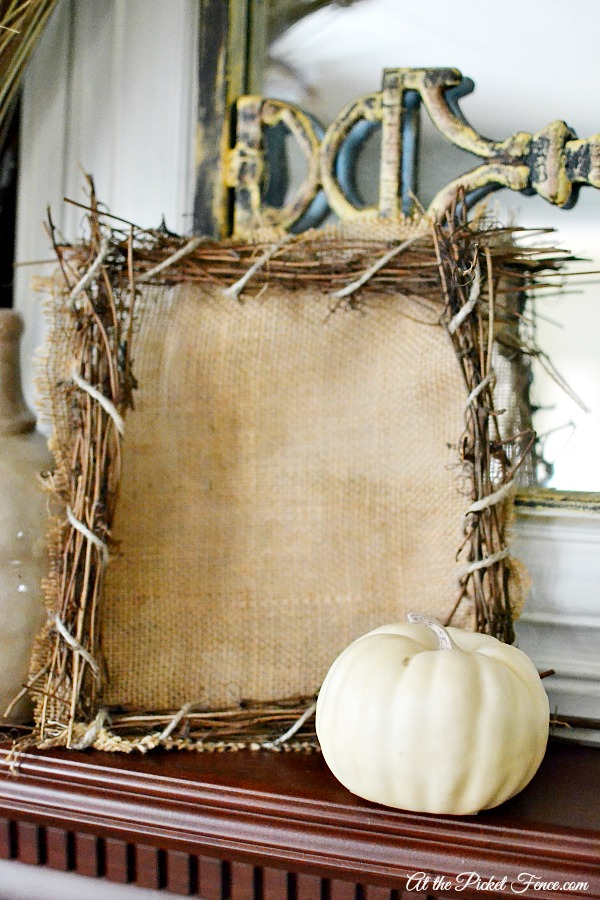 How to Make a Branches and Burlap Frame - At The Picket Fence