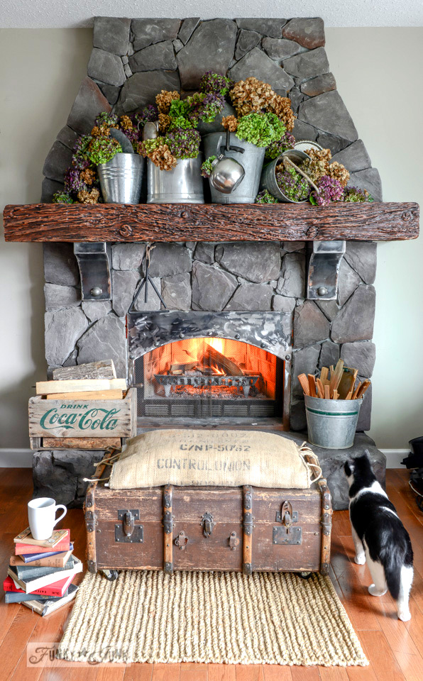 fall mantel from funky junk