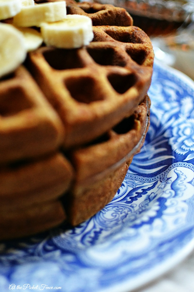 gingerbread waffle stack with bananas atthepicketfence.com