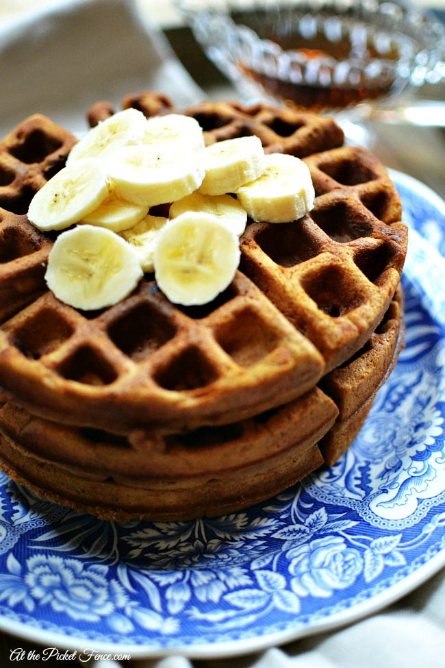 homemade gingerbread waffles atthepicketfence.com