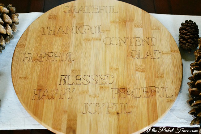 Faux engraved Thankful words wood board atthepicketfence.com