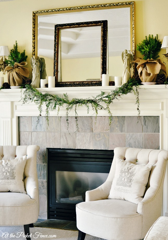 French country style Christmas mantel atthepicketfence.com