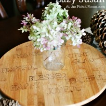 Sharpie stenciled thanksgiving lazy susan atthepicketfence.com