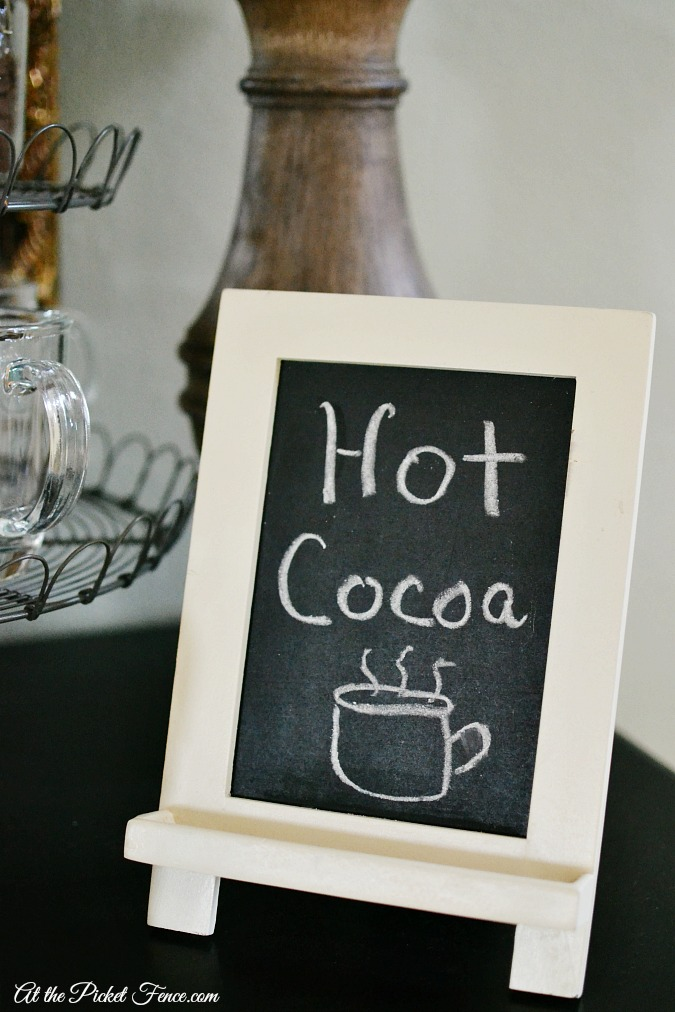 chalkboard easel on hot cocoa station atthepicketfence.com