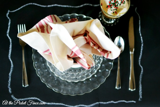 chalkboard paper placemat outline place setting