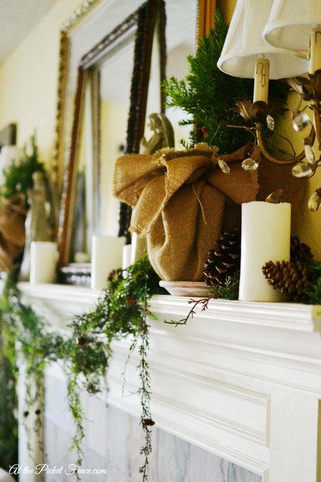 french country christmas mantel decor atthepicketfence.com