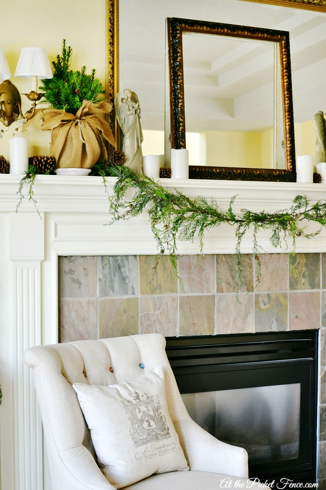 french country inspired christmas mantel atthepicketfence.com
