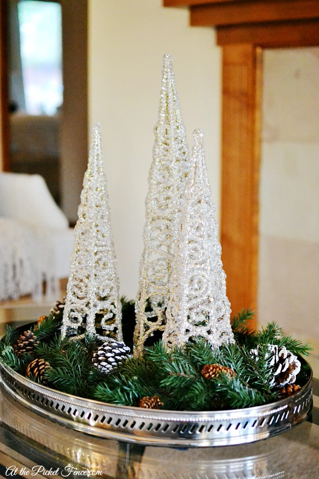 glittery Christmas trees in tray on coffee table atthepicketfence.com