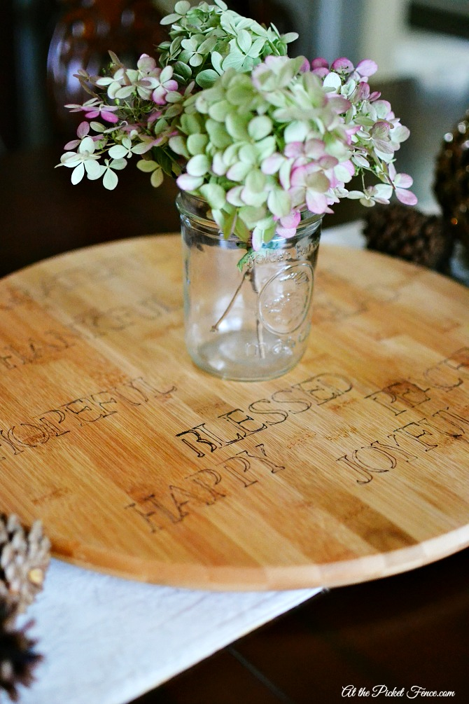 Sharpie Stenciled Thanksgiving Lazy Susan