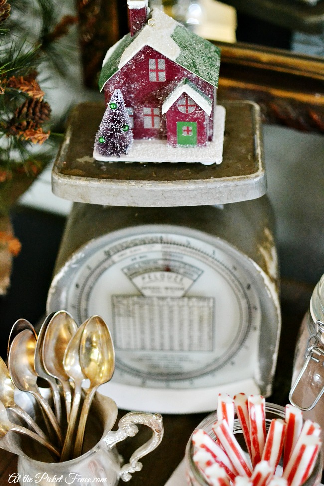 vintage scale with christmas house atthepicketfence.com