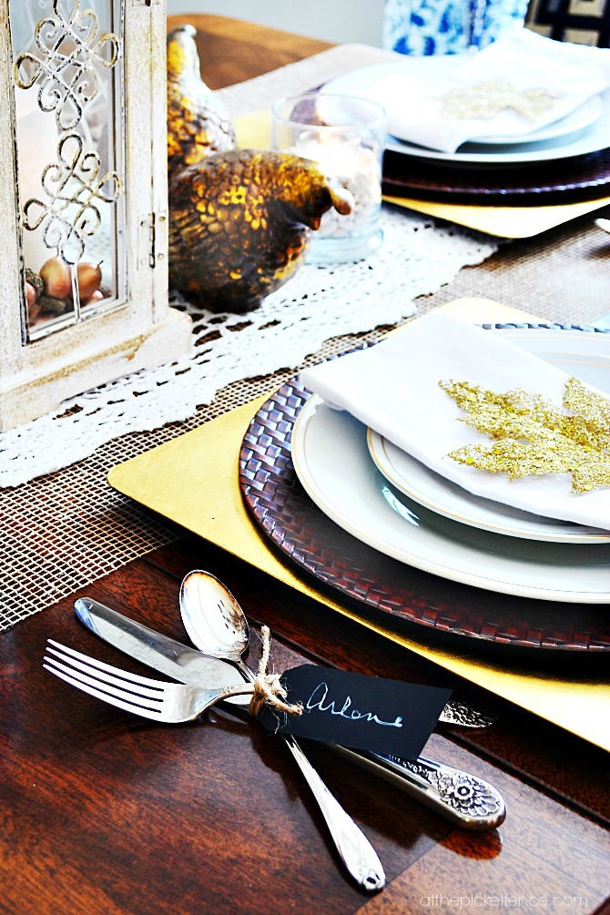 vintage silverware tied with chalkboard tag and twine