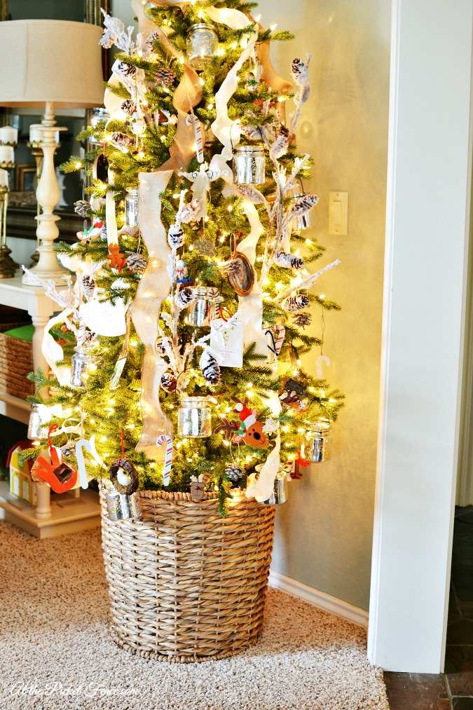 Christmas tree in basket tree stand atthepicketfence.com