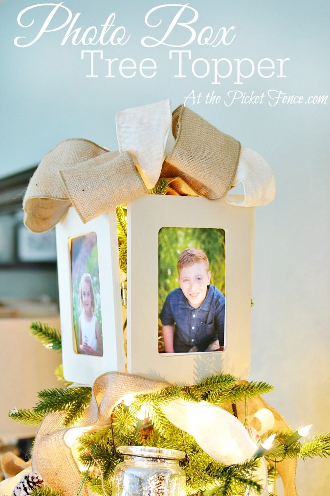 DIY photo box tree topper from atthepicketfence.com