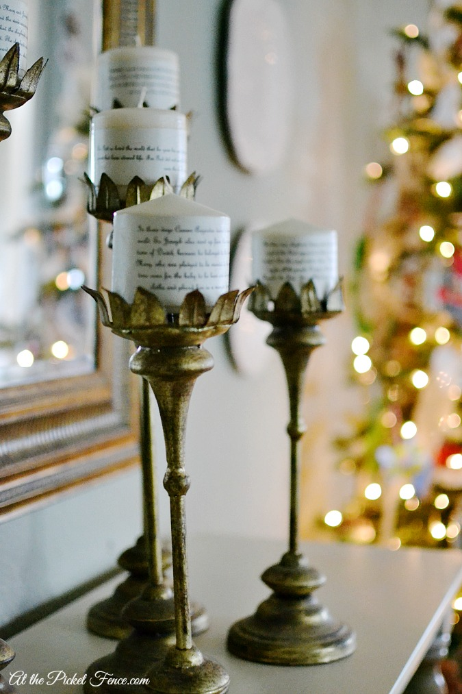 candles wrapped in scripture for advent atthepicketfence.com