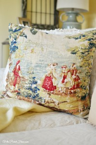 bosporous toile pillow on couch atthepicketfence