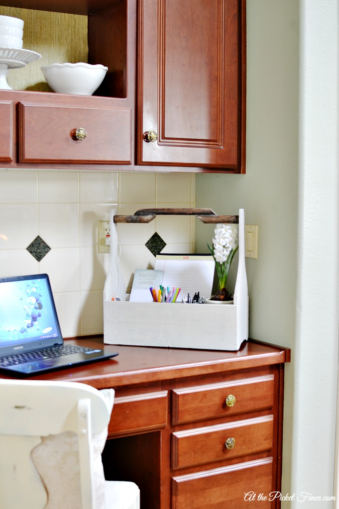 kitchen desk organization from atthepicketfence.com