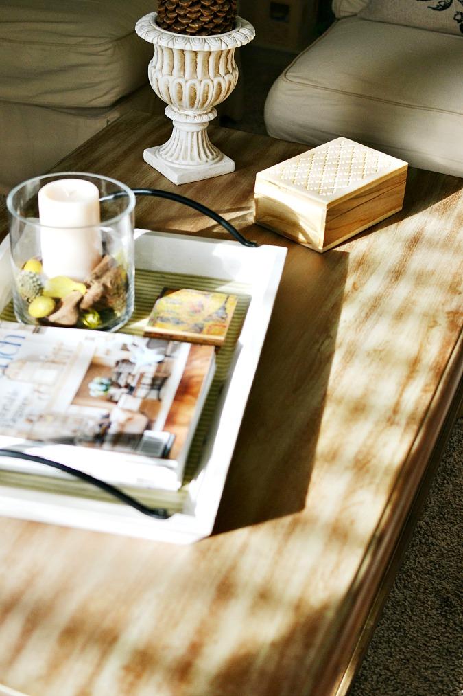 sunlight on coffee table