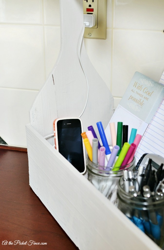 wood caddy organizer and phone charging station