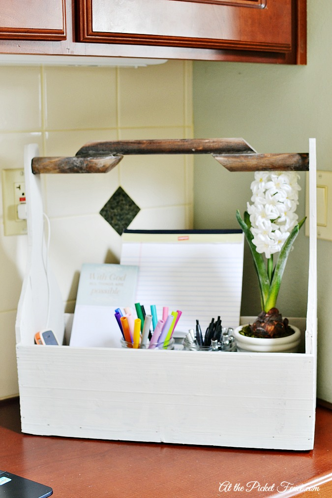 wood tool caddy as storage and organizer for desk atthepicketfence.com