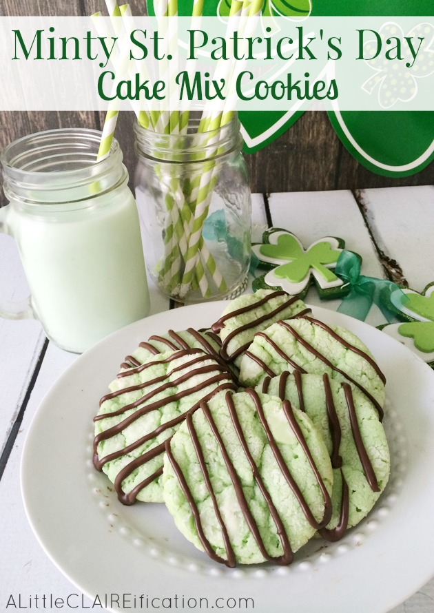 Minty St. Patrick's Day Cake Mix Cookies