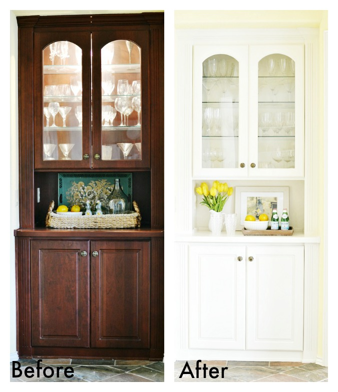 before and after built in china cabinet makeover atthepicketfence.com