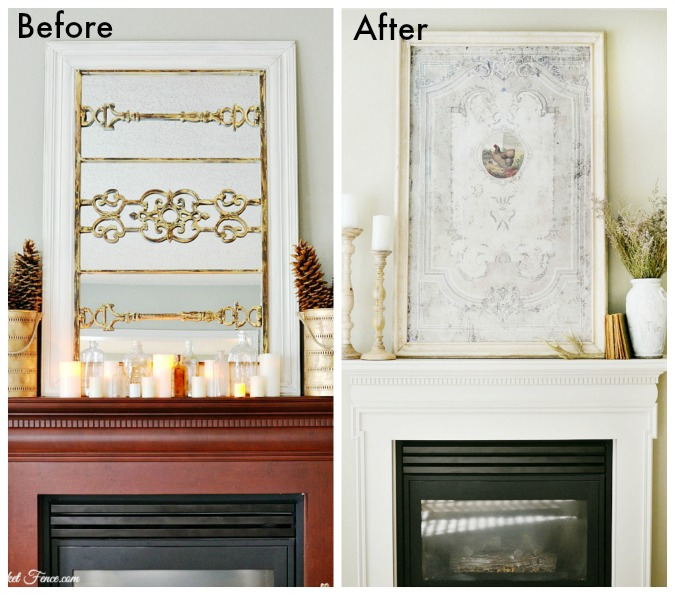 before and after fireplace makeover atthepicketfence.com