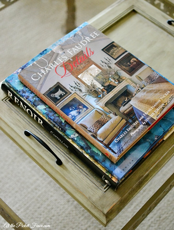 decorative books on tray on coffee table