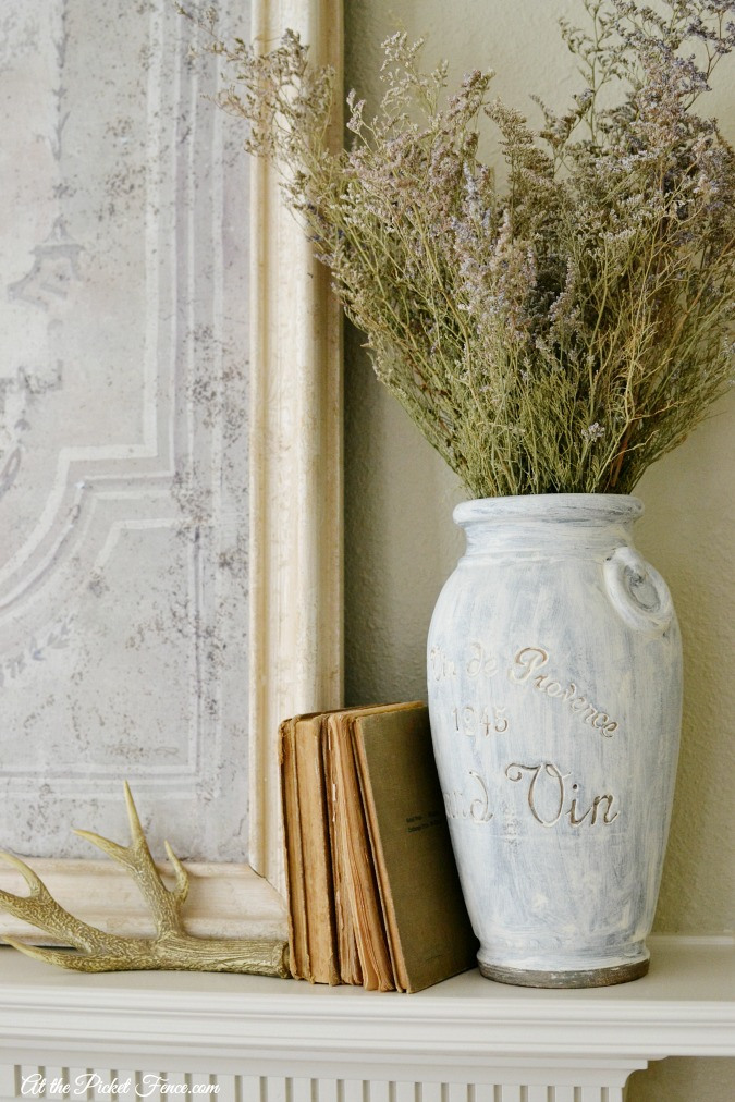 french country simple fireplace decorating atthepicketfence.com