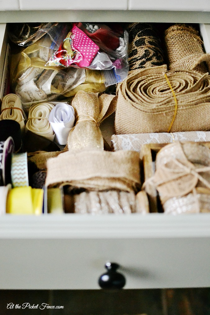 organized ribbon drawer atthepicketfence.com