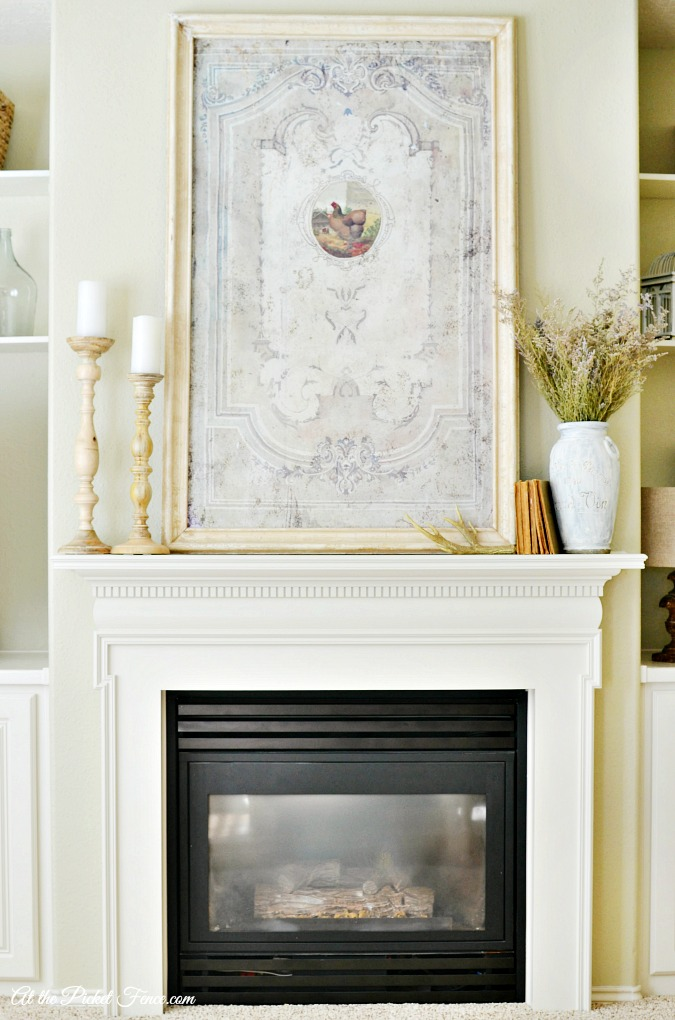 white french country styled fireplace makeover atthepicketfence.com