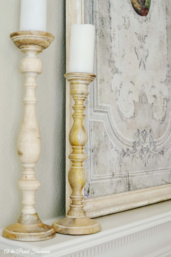 wood candlesticks on mantel atthepicketfence.com