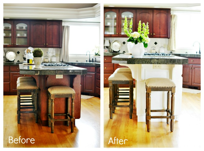 Painted Kitchen Island Makeover Atthepicketfence.com