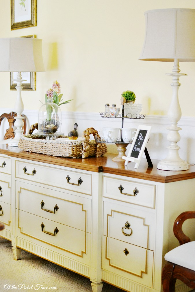 Dining Room Buffet Table Makeover - At The Picket Fence