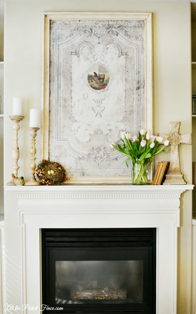 Spring Mantel Decorating - At The Picket Fence