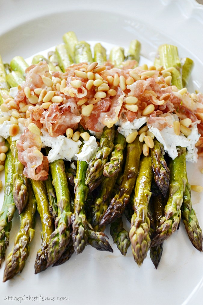 asparagus-with-lemon-goat-cheese-pine-nuts-www.atthpicketfence.com_
